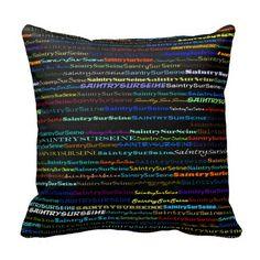 Saintry-sur-Seine Text Design I Throw Pillow