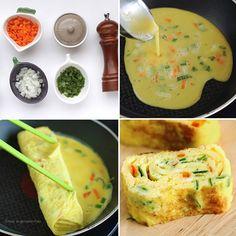 Que tal fazer maravilhosos enroladinhos de ovos? É super fácil! Prepare um de omelete com: cenoura, cebola, cebolinha e o que mais você quiser para temperar. Quando o ovo estiver pegando consistência, você pode começar a enrolar e está pronto!
