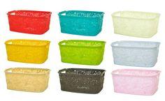 Floral Lace 24x18cm Plastic Handy Fruit Kitchen Bathroom Storage Basket Box