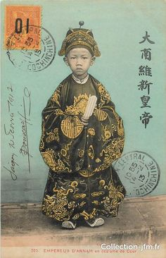The emperor of D'annam (now Vietnam). Photo Vintage, Vintage Images, Old Pictures, Old Photos, Haiku, Vietnam History, Envelope Art, China Girl, Ancient China