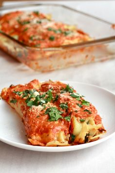 Spicy Italian Chicken Sausage, Spinach and Crepe Manicotti