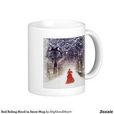 Red Riding Hood in Snow Mug Celtic Fantasy Art, Red Riding Hood, Drinkware, Coffee Mugs, Snow, Design, Tumbler, Coffee Cups, Glass