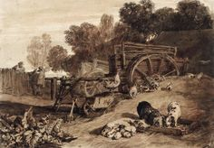 Joseph Mallord William Turner - Liber Studiorum Charles Turner, A4 Poster, Poster Prints, Joseph Mallord William Turner, Classic Image, Will Turner, Farm Yard, Landscape Art, Printmaking