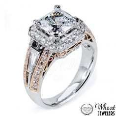 Two Tone Square Halo Engagement Ring with Baguette and Round Diamond Accents and Filigree Side Detail #engagementring #halo #square #princesscut #twotone #rosegold