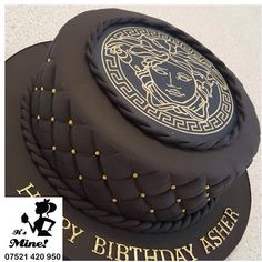 Luxurious black quilted Versace birthday cake by It's Mine Cakes
