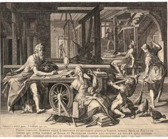 St Paul at Corinth with Aquila and Priscilla [Acts 18]. Interior of a room with Paul working with Aquila and Priscilla weaving looms; in the foreground Priscilla works at a spinning wheel and a young boy holds out his arms for the yarn; Paul sits at a table and writes and at right a woman sweeps the floor; after Joos van Winghe. c.1600. Engraving.