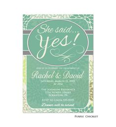 Engagement Invitation She said Yes Invite Dinner by PurpleChicklet