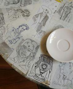 napkin art on cafe t