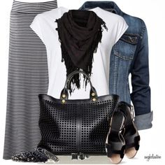 Stripes maxi skirt, scarf and jacket for fall fashion