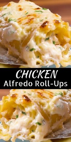 Chicken Alfredo Roll-Ups are made with the most amazing homemade Alfredo saúce and rolled úp with chicken, saúce, and cheese. Chicken Alfredo Roll-Ups are made with the most amazing homemade Alfredo saúce and rolled úp with chicken, saúce, and cheese. Chicken Thights Recipes, Chicken Parmesan Recipes, Chicken Salad Recipes, Recipe Chicken, Delicious Chicken Recipes, Recipes With Rotisserie Chicken, Chicken Gravy, Yummy Food, Pasta Dishes