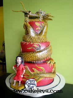 Wow - great design!    cakelava: Dragon Cake for a Yakudoshi Birthday
