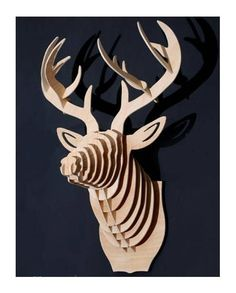 a huge wooden deer head which can be black, white or the color you like