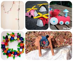 5 manualidades infantiles con envases de huevo. Manualidades para niños divertidas con envases de huevos: camello, corona de flores, guirnalda, helicóptero y tren de juguete.