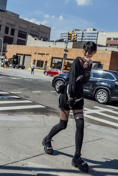 September 14, 2016 Tags Black, Studded, Louis Vuitton, Women, Model Off Duty, Models, Monochromatic, Oversized, Bracelets, Necklaces, Knitwear, Sweaters, New York, Graphics, Socks, Sandals, Tights, Platform Shoes, Chokers, 1 Person, Lips, Fishnet, Bangs, SS17 Women's, Sora Choi