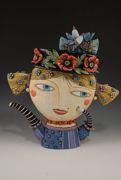 Girl Teapot with Poppy Flowers and Birds Hat. $1,400.00, via Etsy.