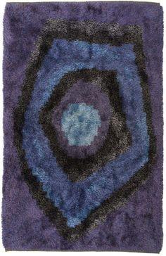 Kjersti Hatlem; Hand-Knotted Wool Rya Rug for Sellgren, 1959.