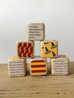 Harry Potter // Childrens Book Blocks // Natural Wood Toy