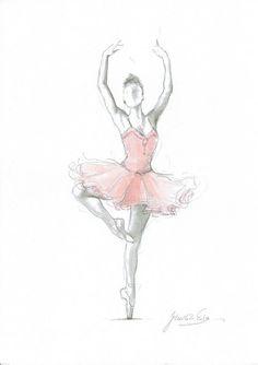 Set of 3 Prints, Ballerina Triptych, Pink Ballerina, Watercolor Ballet, Ballerina Drawing, Bedroom D
