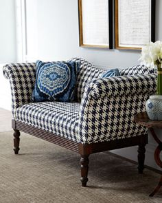 Indigo houndstooth settee. Think this would be an alternative to a table in the entry.
