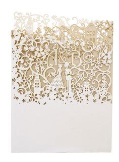 Chartula - Little City Tales Laser Cut Wedding Invitation - Designer invitations for a Dutch London wedding by www.chartula.co.uk