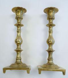 antique pair solid brass candlesticks circa 1900