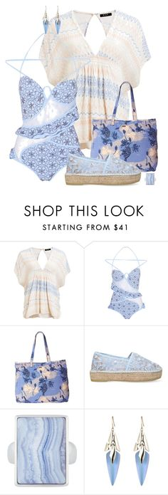 """Pastel Swimwear"" by feelgood35 ❤ liked on Polyvore featuring Lipsy, Zimmermann, Roxy, Kurt Geiger, Henri Bendel and Alexis Bittar"