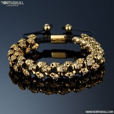 The Swarm Is Here ! | Introducing Our NEW Gold & Clear Swarovski Crystal Skull 'Swarm' Bracelet | This Special Bracelet Is Designed With Our Unique Handcrafted Skull Design, Created With Meticulous Attention To Detail This Piece Features A Precision Cut Clear Swarovski Crystal Set In Each Eye Of Every Skull, A Stand Out Statement Piece That Will Adorn The Wrist | Available Now At Northskull.com [Worldwide Shipping] #northskull #Jewelry #bracelet #skull #gold #luxury
