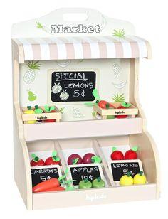 Hip Kids Pretend Play Wooden Toy Fruit Vegetable Market Food Stand Children