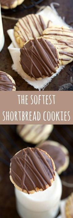 The softest shortbread cookies! With a delicious chocolate topping. The softest shortbread cookies! With a delicious chocolate topping. Cookie Desserts, No Bake Desserts, Just Desserts, Cookie Recipes, Delicious Desserts, Soft Shortbread Cookie Recipe, Shortbread Recipes, Chocolate Shortbread Cookies, Shortbread Cookies With Cornstarch
