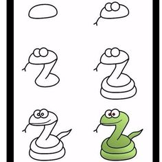 draw snake easy drawing cartoon simple doodle drawings shapes animals using crafts arts cartoons fun snakes painting