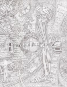 Dr. Applehead's Tree House  #blackandwhite #art #famtasyart #surreal #pencildrawing #anatomy