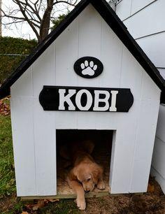 Einen traditionellen Hund-Haus mit einem großen Innenraum und ein hübsch Zeichen mit Namen des Hundes.
