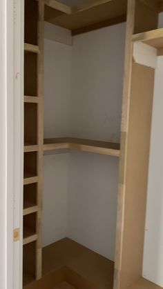 A simple shelf Took 2 hrs to build and about 2 sheets of MDF Build A Closet, Walk In Closet, Closet Shelves, Closet Storage, Building Shelves In Closet, Billy Regal, Corner Closet, Bedroom Cupboard Designs, Closet Remodel