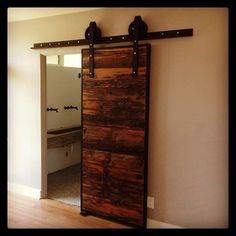 Industrial Mushroom Wood Sliding barn door. Want this for the office/living room.