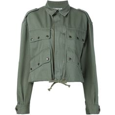 Faith Connexion Cropped Military Jacket (16.770 ARS) ❤ liked on Polyvore featuring outerwear, jackets, coats & jackets, crop top, green, cotton field jacket, cotton military jacket, green military jackets, field jackets and cotton jacket