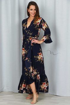 Nourishment Floral Maxi Dress in Navy - Lace N Heels