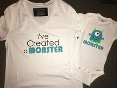 Matching Women's Mom and Baby I've Created a Monster Shirt Onesie, New Baby, Baby Shower, Pregnancy Announcement, Boy or Girl