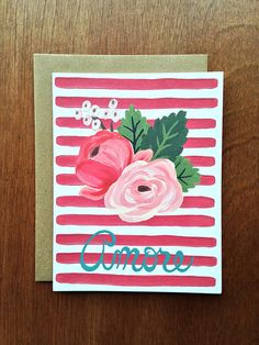 Amore Stripe  Single Card  A2 size 4 1/4 x 5 1/2 by LetterWood
