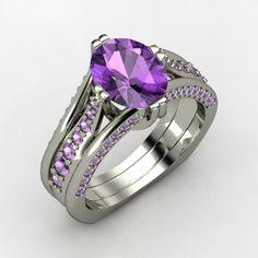 Oval Amethyst Palladium Ring with Amethyst | Concerto Ring | Gemvara