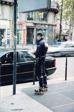 French roller-blading policeman, on Inline skates - Paris, France