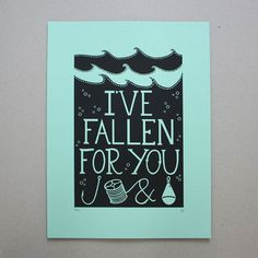 Fallen for You screen print by Hazel Nicholls. A lovely navy blue print on turquoise/teal paper. Find in our shop and online at http://ift.tt/mZusDN #somagallery #hazelnicholls #screenprint #fallenforyou #hooklineandsinker #printmaking #handmade