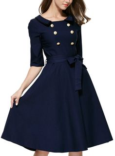 Miusol® Women's 3/4 Sleeve Classy Casual Belted Vintage Retro Evening Swing Dress at Amazon Women's Clothing store: