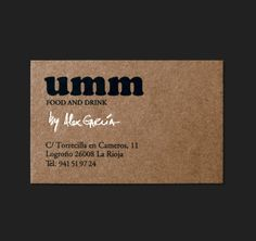 Brand identity and business card for gastrobar Umm designed by Moruba.