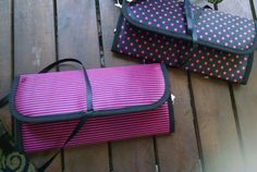 Vote for your favorite by adding a comment.  Black and pink jewelry bag. Stripes or dots. These are samples but if we are able to get 100 repins, one repinner will receive the item that wins! #jewelryroll #vote #pickyourfav #contest #dots #stripes #dotsVSstripes