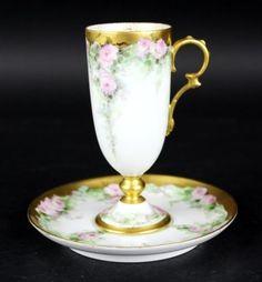 Antigo-Limoges-Franca-Rosa-h-painted-Rosa-De-Ouro-Dourado-Porcelana-Xicara-E-Pires-Nr