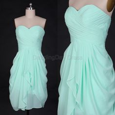 Mint Bridesmaid Dresses Chiffon Simple Prom Dresses by DazzlingDay