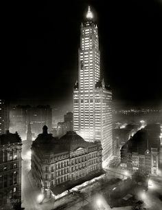 "New York noir, circa 1913. ""The Woolworth Building at night."" 8x10 inch dry plate glass negative, Detroit Publishing Company."