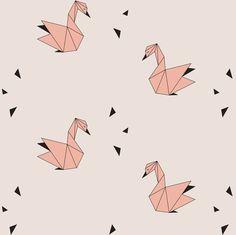 Swans - Pink fabric by kimsa on Spoonflower - custom fabric