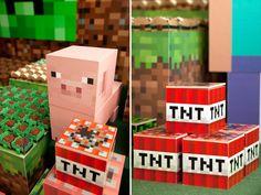 O joguinho Minecraft tem feito o maior sucesso entre a criançada e, claro, já virou tema de festinha! Nesta decoração da Fête, a textura pixelada do game s Mine Craft Party, Boy Room, Kids Room, Bolo Minecraft, Festa Hot Wheels, 6th Birthday Parties, Jenga, Gift Wrapping, Valentines