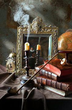 Candle Mirror Still Life by Kevin Best. Marvelous sense of atmosphere! #Halloween #photography #still_life